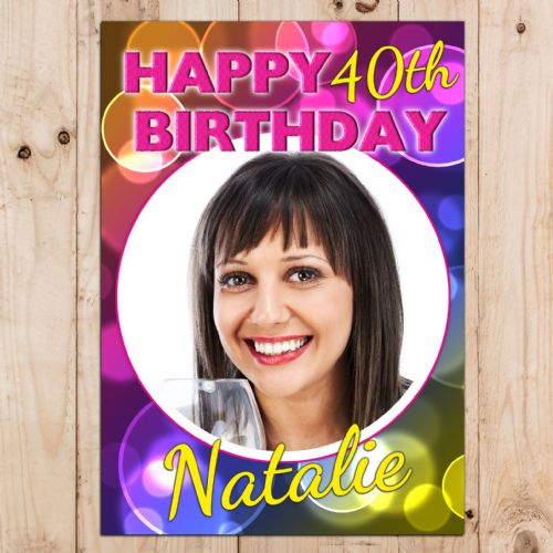 Personalised Bright Bubbles Happy Birthday Party PHOTO Banner Poster N45